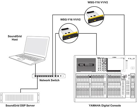 32-channel system setup: two Y-16 cards, one server