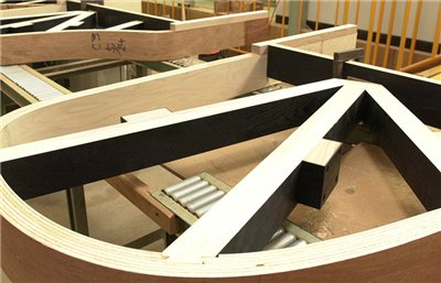 Beams are fit into the curved inner liner